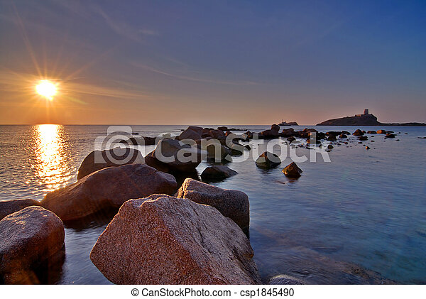Boulders and sunrise - csp1845490