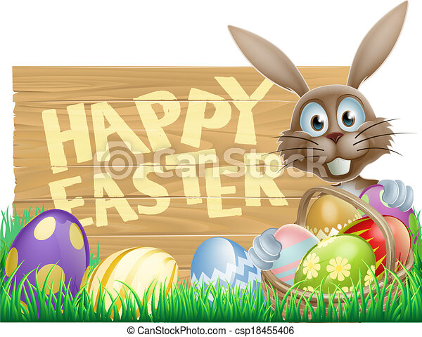 Easter bunny pointing down - csp18455406