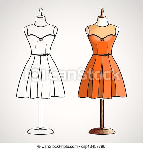 EPS vectores de mano, dibujado, Vestido, dressform - mano, dibujado ...