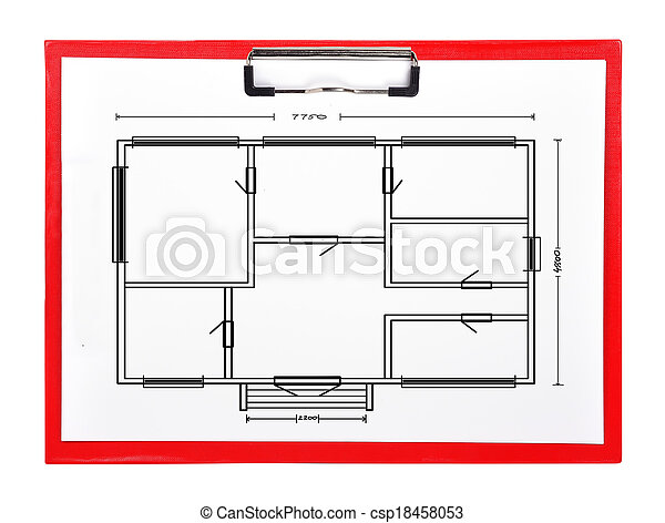 Stock images of apartment plan plastic red clipboard for Apartment stock plans