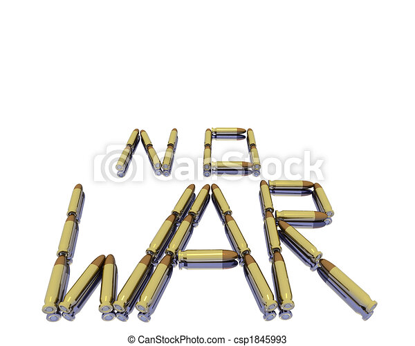 caption no war from 3D bullets isolated on white - csp1845993