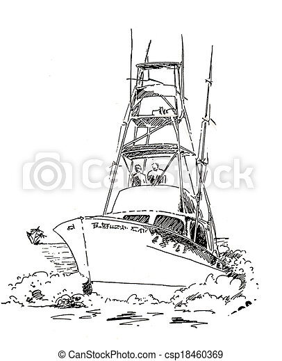 of Offshore fishing boat sketch - Offshore, Boat, Fishing Boat ...