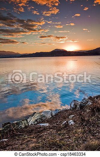 Vibrant Sunset of Scenic Mountain Lake - csp18463334