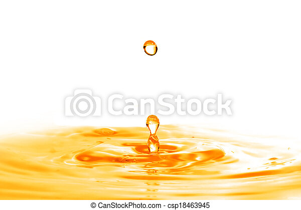 drop falling into orange water with splash isolated on white - csp18463945