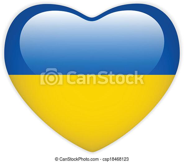 Ukraine Flag Heart Glossy Button - csp18468123