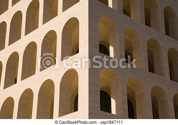 Particular of a building tipycal of Metaphysic architecture in Rome, Italy. - csp1847111
