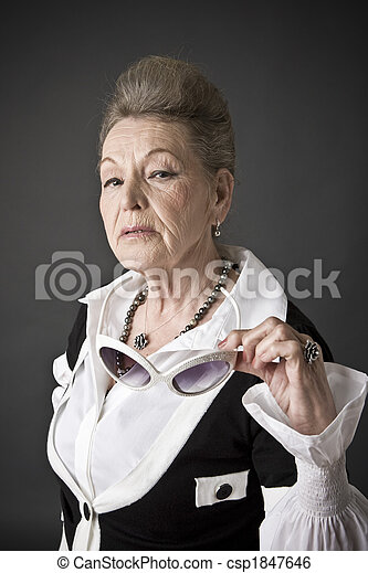 Fashion portrait of a senior lady - csp1847646