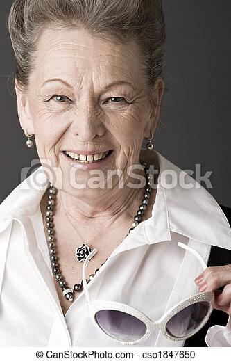 Fashion portrait of a senior lady - csp1847650