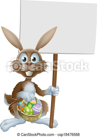 Easter rabbit with sign and eggs - csp18476568