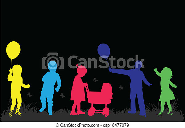 vector illustration of children in nature - csp18477079