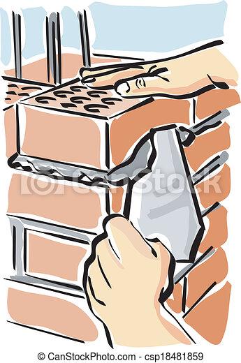 Haus bauen clipart  Clipart Vektor von bauen - Illustration, von, a, bauhofarbeiter ...