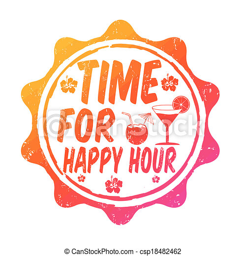 Clip Art Happy Hour Clip Art clip art vector of time for happy hour stamp csp18482462