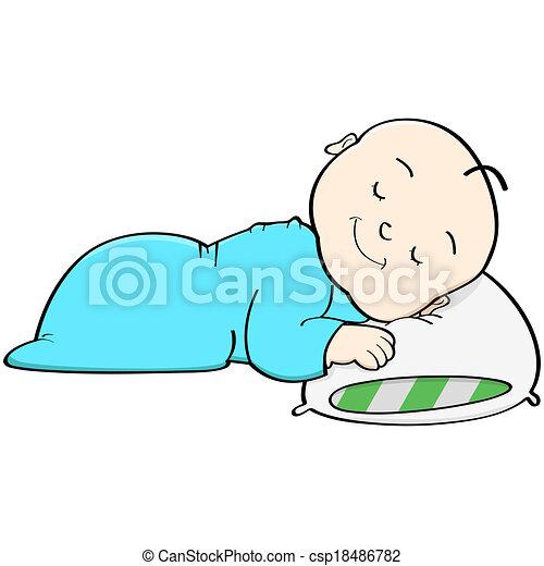 Vector Of Baby Sleeping Cartoon Illustration Showing A