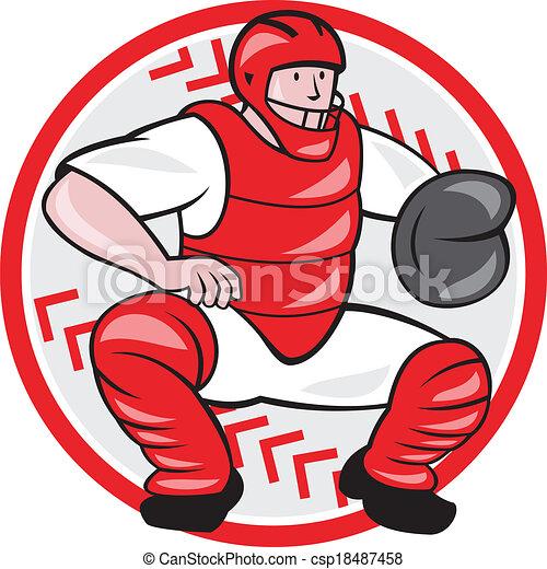 Softball Catcher Cartoon Catcher Catching Cartoon