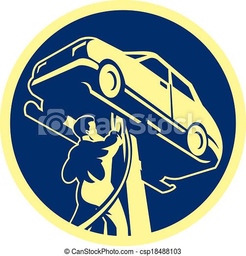 Auto Mechanic Automobile Car Repair Retro - csp18488103