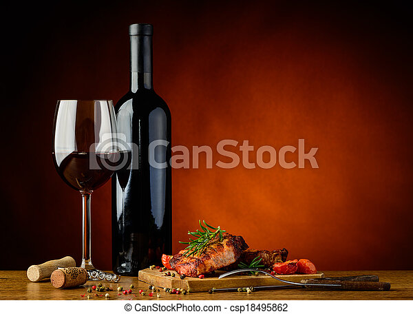 Dinner with grilled steak and wine - csp18495862
