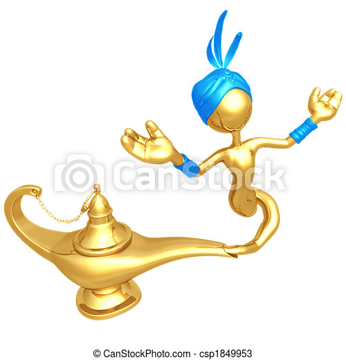Djinn Escaping Magic Lamp - csp1849953