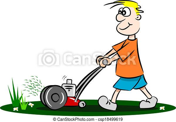 Lawn Mower Drawings Cartoon Guy Mowing The Lawn