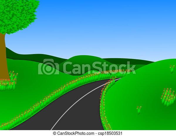 Lush Green Countryside Road Stock Illustration