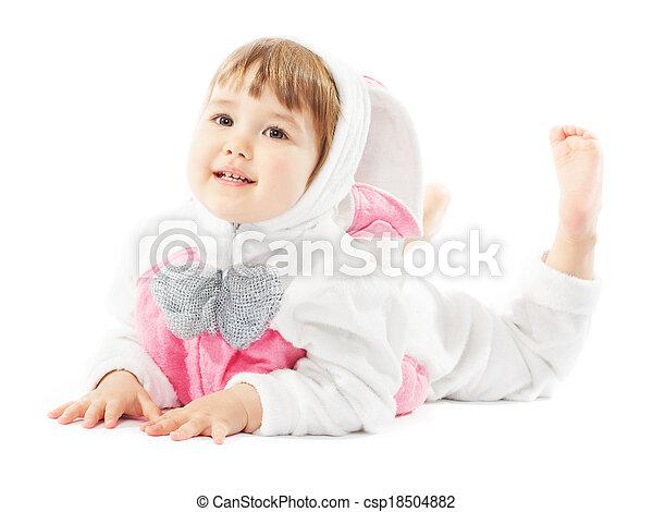 bebê, Páscoa, coelhinho, traje, criança, menina, lebre - csp18504882