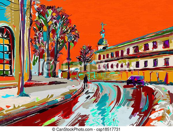 digital, quadro, inverno, original - csp18517731
