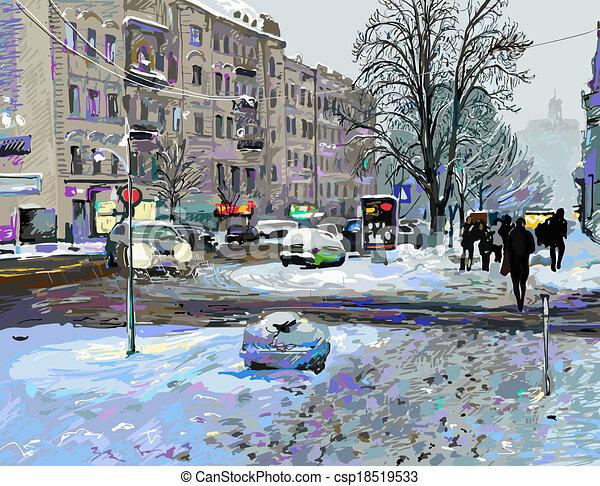 digital painting of winter Kiev city landscape, Ukraine