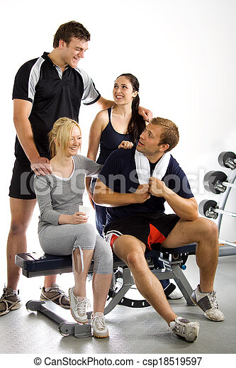 Group of friends in the gym