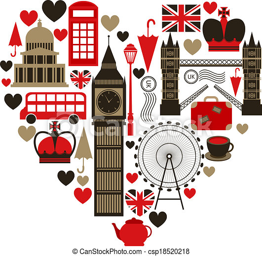 Vector Clip Art of Love London heart symbol with icons set ...