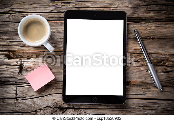 Workspace with tablet and coffee