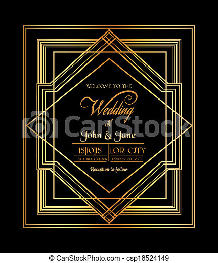 Wedding Invitation Card - Art Deco & Gatsby Style - save the date - in vector - csp18524149