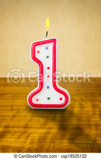 Burning birthday candle number 1 - csp18525122