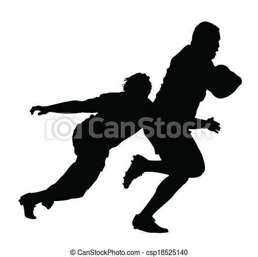 Side Profile of Rugby Player Tackling Runner With Ball - csp18525140