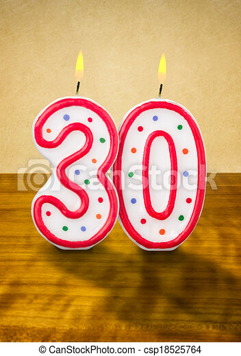 Stock Illustration Of Burning Birthday Candles Number 30