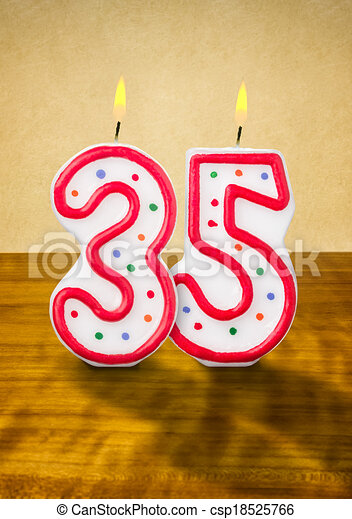 Burning birthday candles number 35 - csp18525766