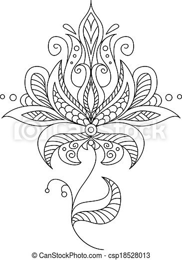 Vector Clip Art of Pretty dainty ornate vintage floral motif in a ...