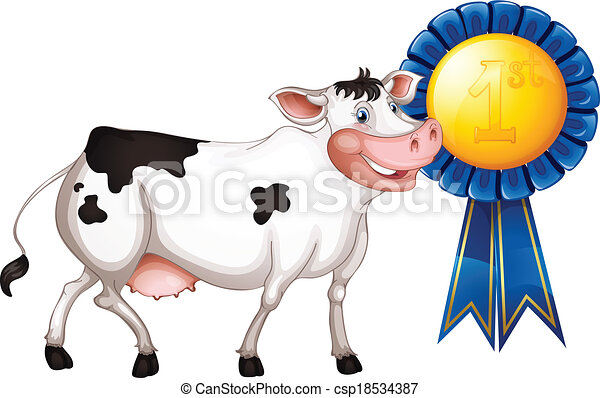 Vector of A cow with a first prize ribbon - Illustration of a cow ...