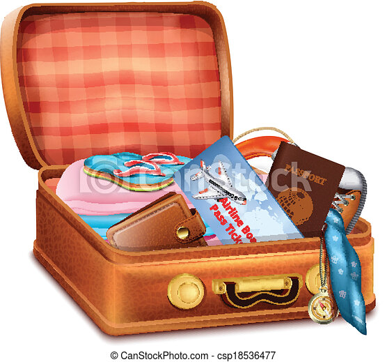Open Suitcase with Clo...