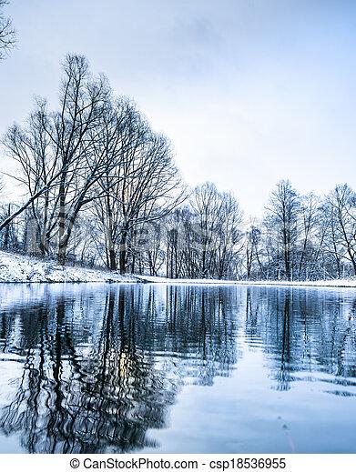 Stock bilder von not gefrorenes winter teich for Teich winter