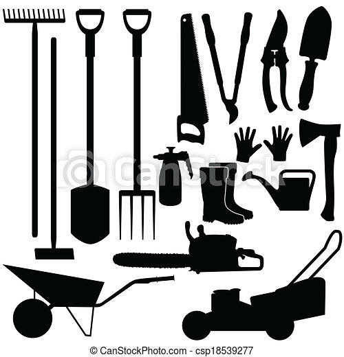 Silhouettes of gardening tools, vector - csp18539277
