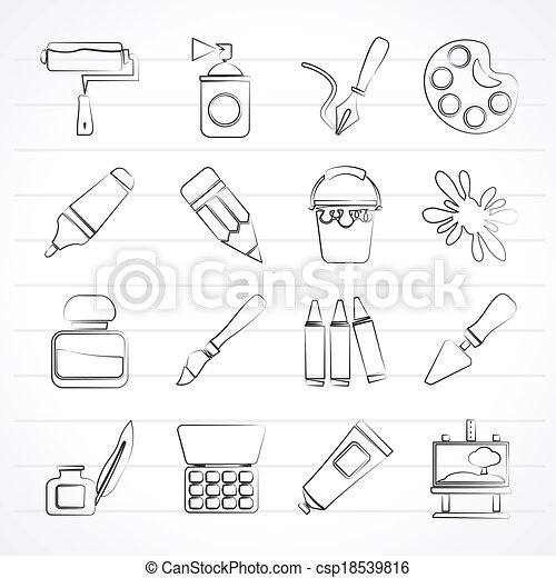 Painting and art object icons - csp18539816