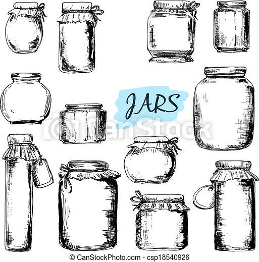 ilustraciones, tarros, Conjunto - csp18540926