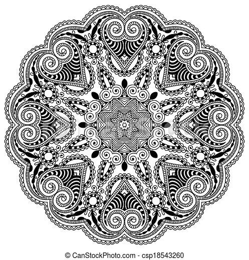 ornament, round ornamental geometric doily pattern, black and white ...