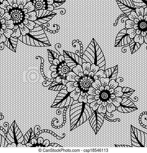 Lace Flowers Drawings Seamless Flower Lace Pattern