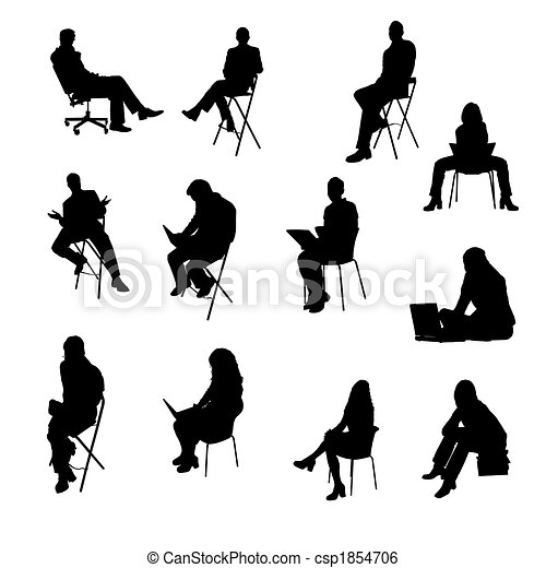 silhouettes of sitting business people - csp1854706