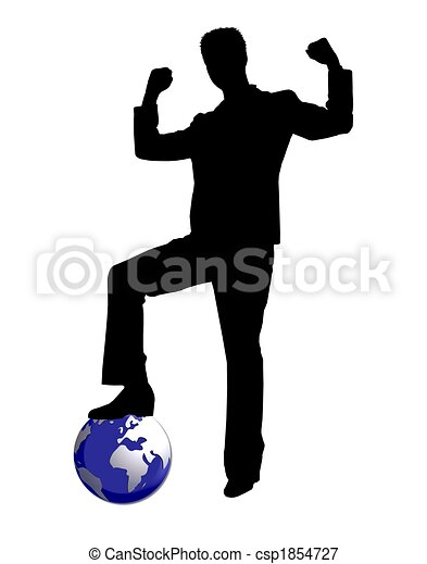 worldwide business man silhouette - csp1854727
