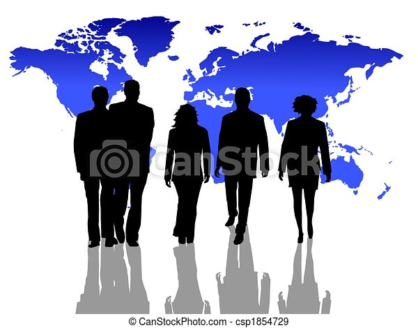 worldwide business people silhouettes - csp1854729