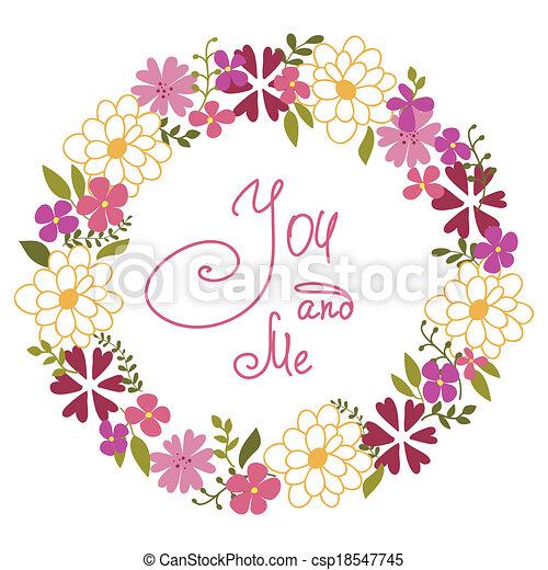 EPS vector de guirnalda, primavera, flores, hierbas csp18547745 ...