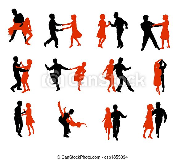 dancing people silhouettes - csp1855034
