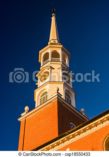 Evening light on the steeple of a church in York, Pennsylvania. - csp18550433