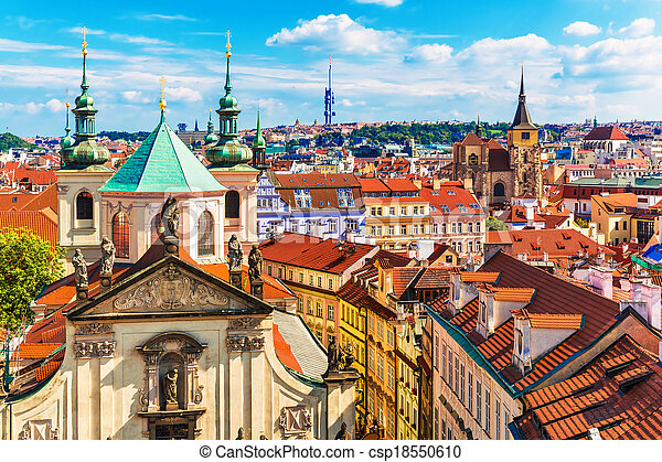 Aerial view of Prague, Czech Republic - csp18550610